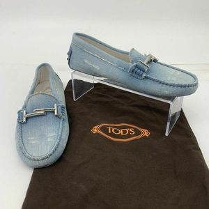 Tod's Distressed Blue Denim Gommino Driving Shoes